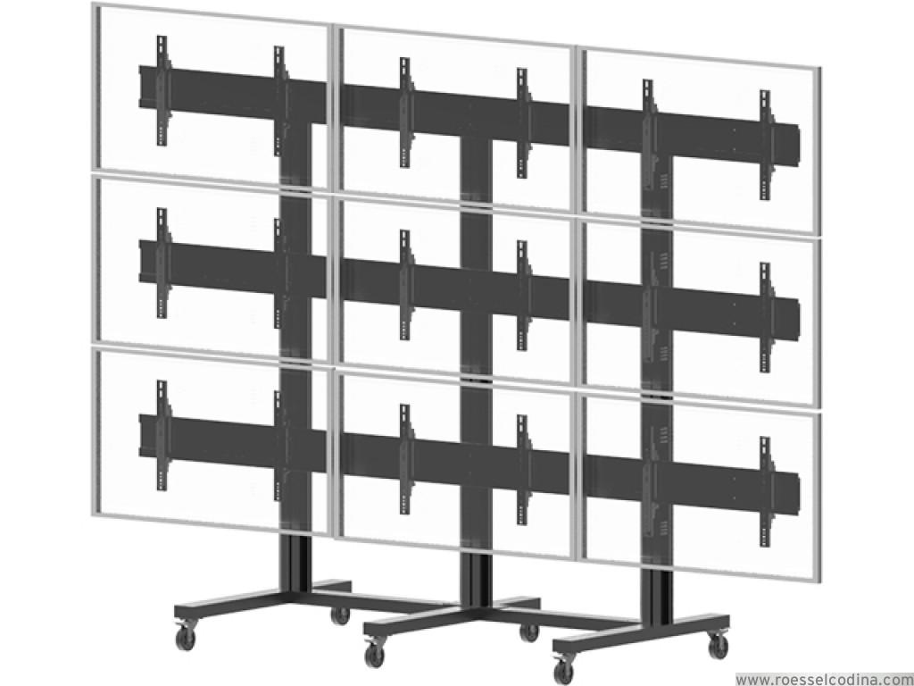 Roesselcodina product videowall stand 9 soporte con ruedas para 9 pantallas de tv plazo de - Soporte con ruedas para tv ...