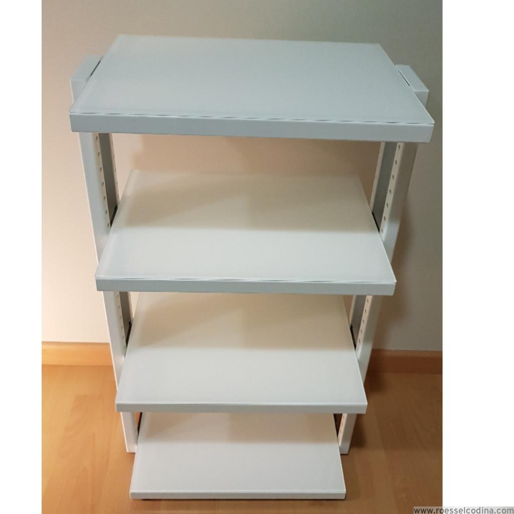 RoesselCodina Product RC854 WHITE Mueble Hifi de 4 estantes