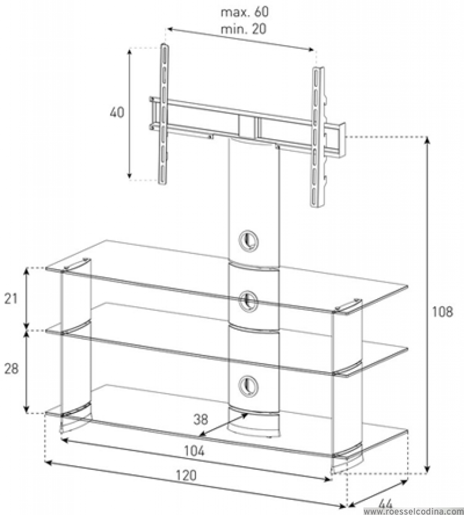 Roesselcodina product pl2130 nn mueble de tv y soporte for Mueble 3 estantes