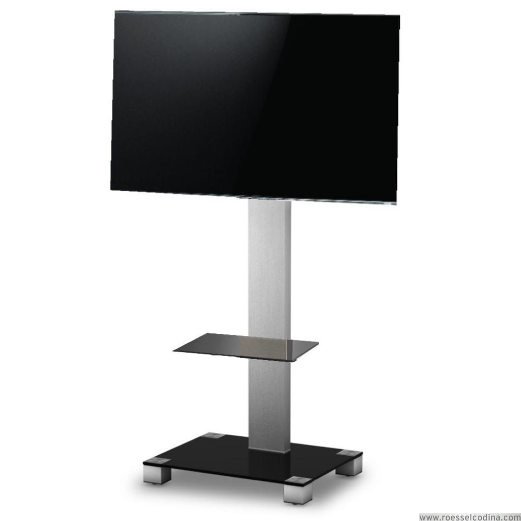 Roesselcodina product peana tv con estante pr2560 ng 180 cms de altura negro gris - Soporte con ruedas para tv ...