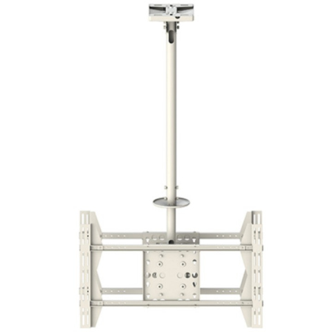 CEILING LARGE DOBLE BLANCO - Soporte de techo para 2 TV. Telescópico hasta 300 cms. Giratorio. VESA 200 x 200 hasta 600 x 400.